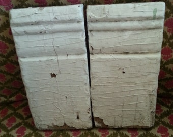 Wood Blocks Architectural Salvage Pair Vintage Wood Plinth Blocks Baseboard Molding Chippy Paint Shabby Chic