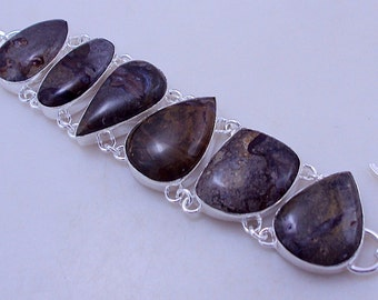 free shipping F-338 Stunning Awesome look Chocolate Jasper .925 Silver Handmade Jewelry Bracelet  47 Gr.