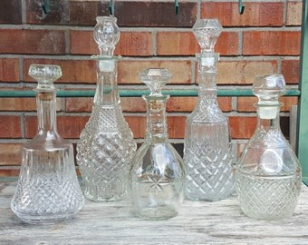 Glass Liquor Decanters 15.00 to 25.00 ea.