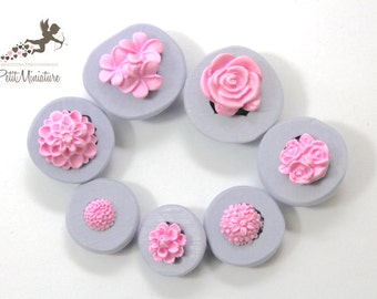 KIT MOULD flexible silicone molds 7 Flower Fimo flower pink dollhouse miniatures charm kawaii polymer clay jewelry soap plaster ST290 resin