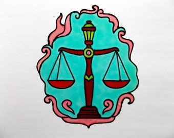 FREE SHIPPING - Libra Window Decor - Stained Glass Style Window Cling - Glass Painted  Glueless Window Sticker/Decal - Horoscope Suncatcher