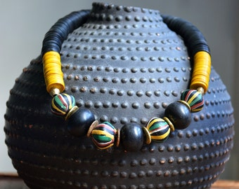 Trade bead necklace with superb antique Venetian king beads, African amber and vulcanite