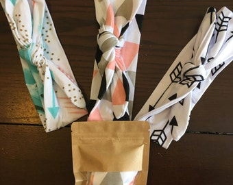 Baby turban headband, watercolor, arrow, geometric triangles