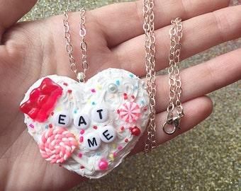 Kawaii Icing Decoden Heart Eat Me Necklace