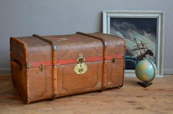 Malle ancien valise coffre 1900 voyage carton fibre vulcanis e - Valise en carton vintage ...
