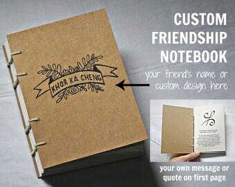 Custom Friendship Gift, Hand Bound Notebook, Coptic Stitch Binding, Sketchbook, Small handmade gift, Bridesmaid gift, small wedding gift
