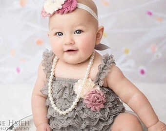 Baby Romper -first birthday outfit. Girls Lace Romper set-Petti romper set, Grey petti romper, Photo prop outfit