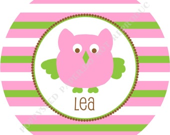 Personalized melamine plate- Personalized plate- Kids plate- Owl - Personalized with name - Girl