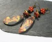Boucles d'oreilles céramique Modigliani verre tchèque oiseau fleur couleurs chaudes rustique art artistique bohème boho chic unique ooak