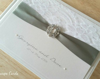Guest book wedding guestbook ribbon and lace crystal embellishment luxury guestbook bespoke guestbook sage green website