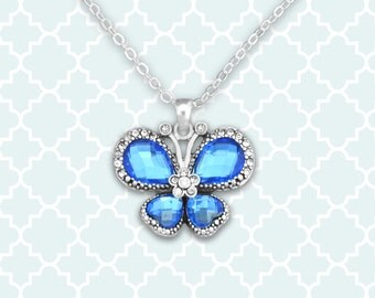 Blue Butterfly Necklace - 47095