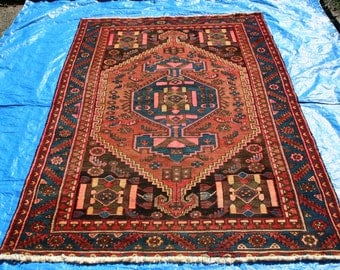 "6' 8"" x 4' 3"" Antique Hosseinabad Tribal Rug   D17"