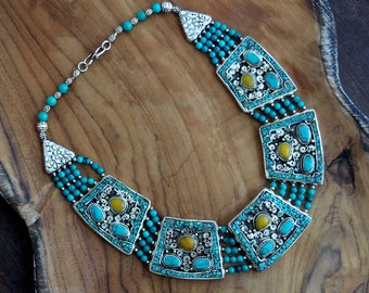 Nepalese Turquoise Choker Necklace