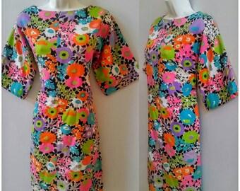 60s Mod Dress Flower Power Floral Bell Sleeve M