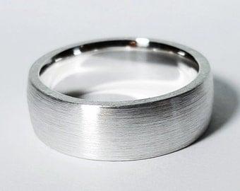 Sterling Silver Brushed Wide Band - Sterling Silver Brushed Wedding Band, Sterling Silver Wide Wedding Ring, Heavy Brushed Band, Wide Band