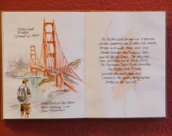 San Francisco Golden Gate Bridge watercolor unique and original artwork