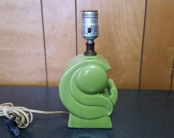 Mid Century Vintage Green Accent Table Lamp
