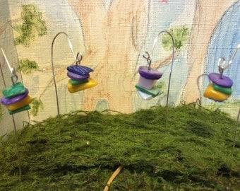 Fairy Garden Shepherd Hooks with Colorful Shell Dangles