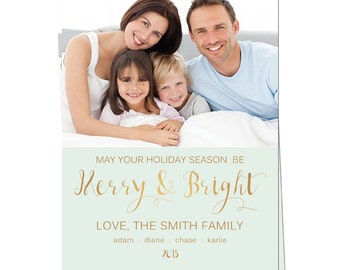 Holiday Photo Card - Christmas Photo Card - Holiday Printable Card - Merry and Bright Christmas Photo Card