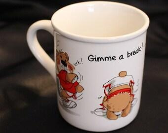 "Vintage Suzy Zoo Bear Mug ""Gimme a break!...I Deserve it!"" Mug Current Inc Colorado Springs"