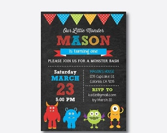 Monster Birthday Invitation, Monster Invitation, Monster Party Invitation, Monster Bash Invitation, Personalized, Chalkboard (CKB.31)