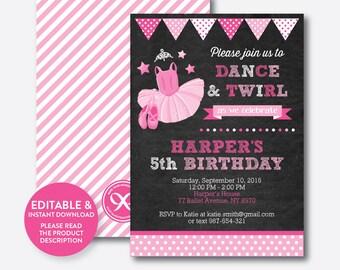 Instant Download, Editable Pink Ballet Birthday Invitation, Ballet Invitation, Ballerina Birthday Invitation, Ballerina Invitation (CKB.416)