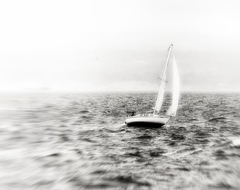 Landscape Photography, Rough Water, Sailboat, Waves, Seascape, Fine Art Black and White Photography, Wall Art, Home Decor