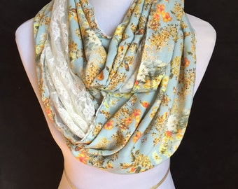 Floral mint infinity scarf/ Lace circle scarf/ Scarf in a loop/ Rayon floral mint/lace scarf
