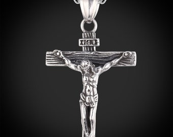 "Men's Necklace Crucifix Looks Great Excellent Weight Comfortable To Wear Adjustable at 2 Positions 20"" & 22"" Stainless Steel 316L Men Gift"