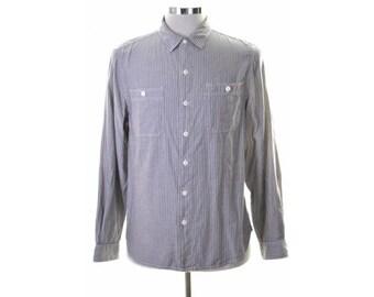 Levis Mens Shirt Small Blue Stripes Standard Fit