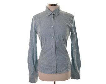 Calvin Klein Womens Corduroy Shirt Large Blue Cotton Elastane
