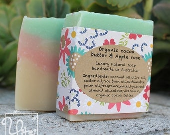 Organic Cocoa butter and Apple Rose - Natural handmade vegan soap