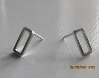 Rectangle Geometric Earrings, ladies earrings, fashion earrings,silver tone earrings, pierced earrings,