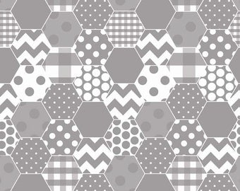 Gray Hexagon Honeycomb Hexi Fabric