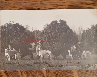 Antique Vintage Real Photo Postcard 1910 Named WINNING RACING GREYHOUNDS