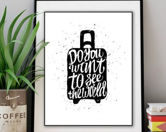 Pack Your Suitcase - See The World, Travel, Travel Art, Travel Print, Travel Prints, Wanderlust, Wanderlust Art, Wanderlust Print, Suitcase
