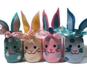 ON SALE, Bunny mason jars, bunny jars, bunny home decor, bunny nursery decor, bunny baby shower decoration, bunny lover gift, bunny vase,