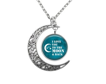 Love you to the moon Crescent Pendant choice of background V4436