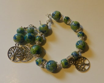 Multi colored Green tree of Life beaded Bracelet with earrings  V4616