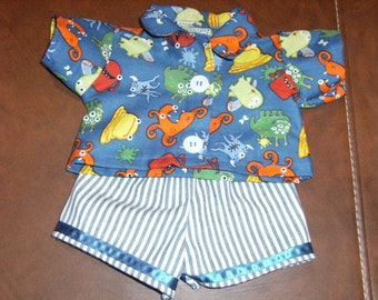 "Cabbage Patch 16"" Doll Clothes~2 pc Boy's MONSTER Pants/Jeans/Shorts and Shirt/Top"