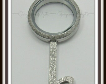 25mm Floating Key Locket / Glass Locket / Memory Locket Pendant Stainless Steel Sparkle