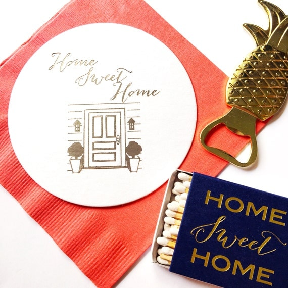 Home sweet home coasters, housewarming gift, paper coasters, foil stamped coaster, party coaster, party favor, new home