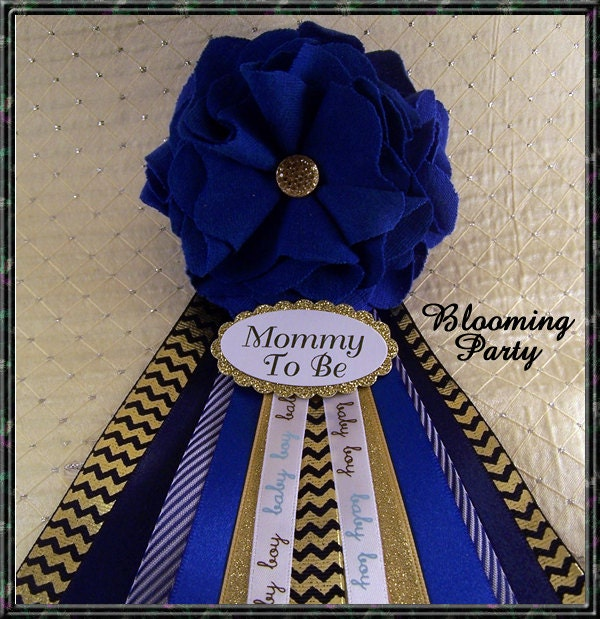 blue and gold baby shower corsage mommy to be corsage blue and