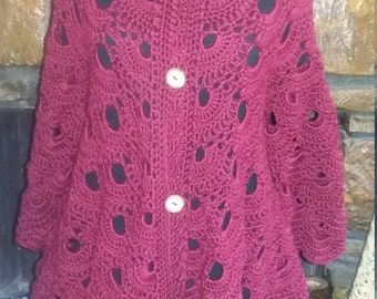 Hand Crocheted Long Virus Cardigan