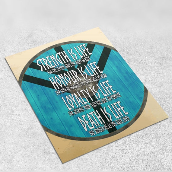 Vikings Quote Art Print 'Strength is Life' INSTANT DOWNLOAD 8x10 inches - Wall Decor, Lagertha, Viking Art Print, Home Decor, Printable Gift