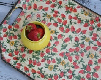 Strawberry Tray, Red and Yellow, Medium Tray, Garden Decor, Strawberry Kitchen Decor, Red and Yellow Floral, Serving Tray. Berry Tray