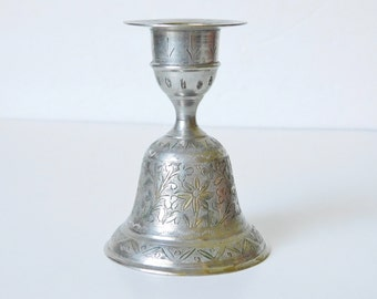 Vintage Boho Candlestick Holder, Etched Silver Candle Holder, Made in India by World Gift Brand, Boho Chic Decor