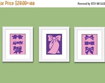 ON SALE Bows Art Print, Childrens Art Print, Girls Art Print, Wall Art, Kids Art Print, 520A
