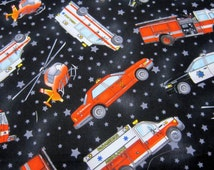 Fire Trucks and Police Cars Cotton Fabric Called Heroes on Parade by Print Concepts Designed by MJ Montana