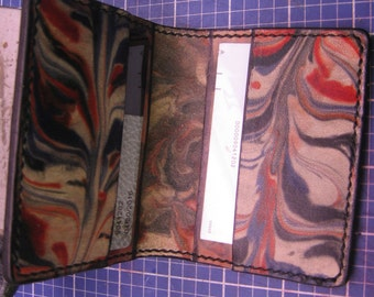 Leather Marble Business Card Holder, Credit card holder, Simple Bi-Fold Card Holder